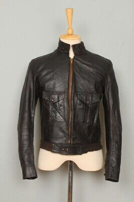 STUNNING Vtg 1940s HORSEHIDE Leather Cafe Racer Sports Motorcycle Jacket S/XS
