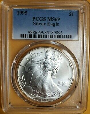 1995 Pcgs Ms69 American Silver Eagle $1 Better Date Problem Free Coin Low Pop