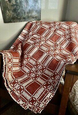 Antique 19th century Vintage Hand Loomed Jaquard Red & White Coverlet Quilt