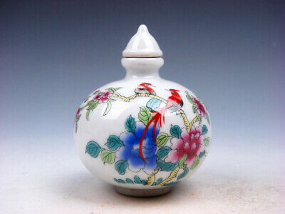 Famille-Rose Glazed Porcelain Snuff Bottle 2 Peacock Flower Blossoms #03312008
