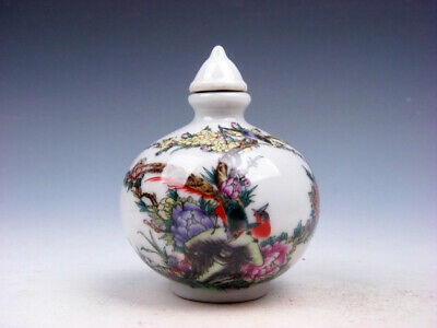 Famille-Rose Glazed Porcelain Snuff Bottle Peacock & Flower Blossoms #03312007