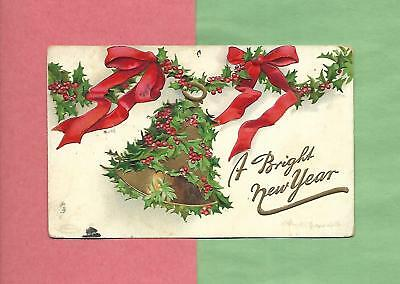 Holly Covered BELL On Lovely A/S CLAPSADDLE Vintage 1909 NEW YEAR Postcard