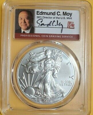 2016 Pcgs Sp70 First Day Of Issue Burnished Silver Eagle Edmund C. Moy 1 Of 300