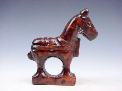 Old Nephrite Jade Stone Carved Sculpture Standing War Horse #10121908