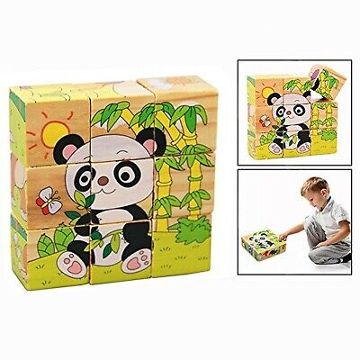 OFKPO 9 Pieces 3D Wooden Cube Block Jigsaw Puzzle Safe Wooden Toys for Educat...