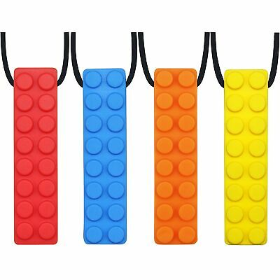 GNAWRISHING Sensory Chew Necklace Set (4-Pack) Made from Food Grade Silicone ...