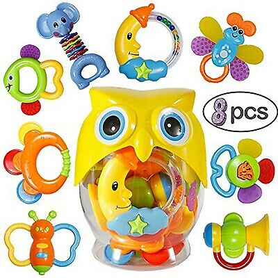 Baby Rattles Teether Toy - SOWOW 8 Pieces Newborn Infant Shaking Rattles Set ...