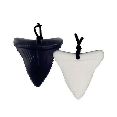 2 Pack Chewing Teether Necklace, Silicone Shark Tooth Shape Chewelry Pendant ...