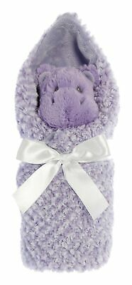 """EBBA Little Pitter Pattern Hippo 8.5"""" Plush Rattle and 18"""" Swaddle Blanket"""