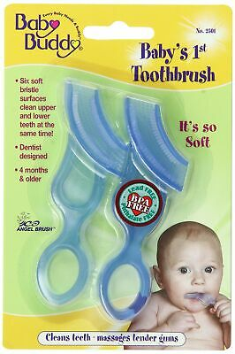 Baby Buddy 2-Count Baby's First Toothbrush, Blue, 2-Pack