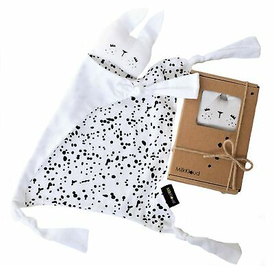 """MilkKloud - Organic Cotton Bunny Lovey for Babies, White and Black, 10"""" x 12""""..."""