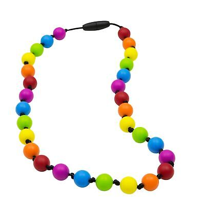 Munchables Silicone Kids Chew Necklace - Knotty Rainbow