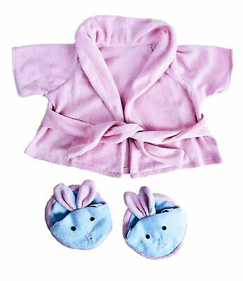 "Pink Bathrobe with Bunny Slippers Teddy Bear Clothes Outfit Fits Most 14"" - 1..."
