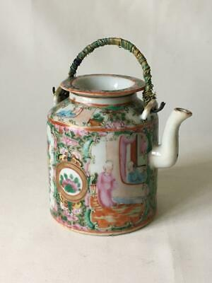 Antique Chinese Canton Famille Rose Porcelain Teapot