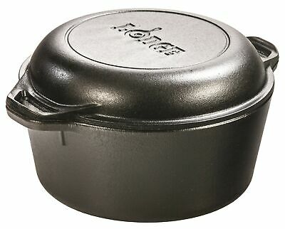 Lodge L8DD3 Logic 5-Quart Double Dutch Oven and Casserole with Skillet Cover ...