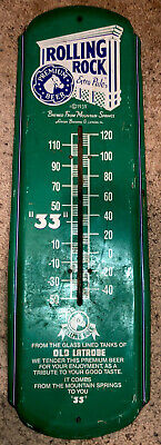 Vintage 1992 ROLLING ROCK ALE METAL Beer Thermometer SIGN Rustic ADVERTISEMENT