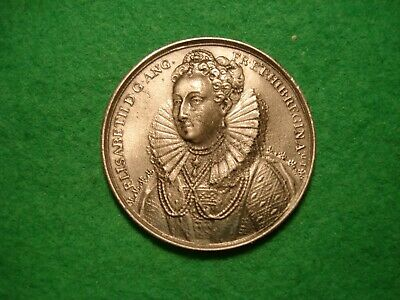 Elizabeth I DASSIER CROWN SIZE White Metal MEDAL BY THE LONDON MINT