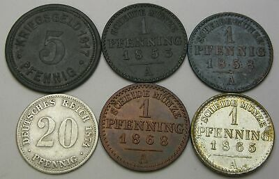 GERMANY 1, 5, 20 Pfennig 1853/1917 - 6 Coins. - 1377