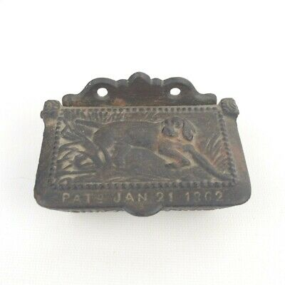 Antique c. 1862 Cast Iron Match Safe Holder Dog Theme Wall Mount