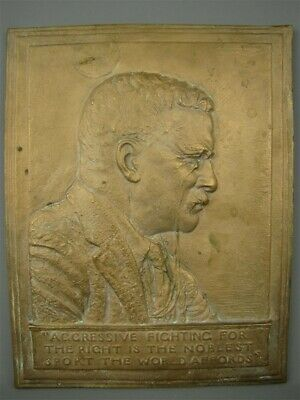 Vintage 1920s Solid Bronze Fraser Copy Wall Plaque President Theodore Roosevelt