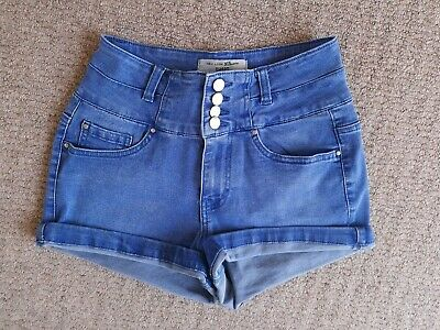 Older Girls' New Look Mid Blue Denim Jeans Shorts High Waist Age 12-13 13-14