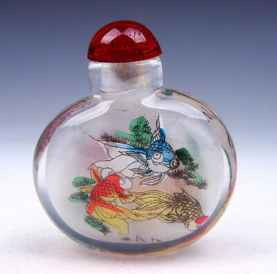 Peking Glass Inside Reverse Hand Painted Goldfish Swim Snuff Bottle #02181602
