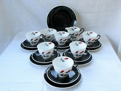 21 Piece Tea Set By Windsor Bone China, England - 1214/87 - Hand Painted Buds