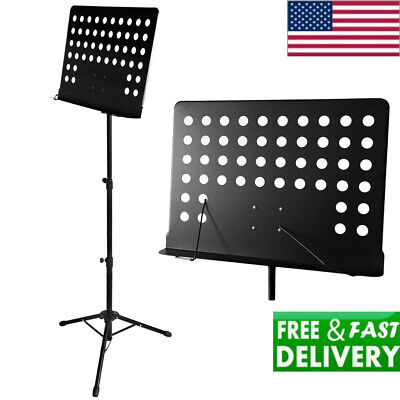 Professional Music Conductor Sheet Metal Tripod Stand Holder Folding Stage Black