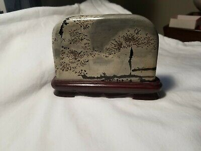 Vintage Asian Style Natural Stone Art with Stand. Dendrite.