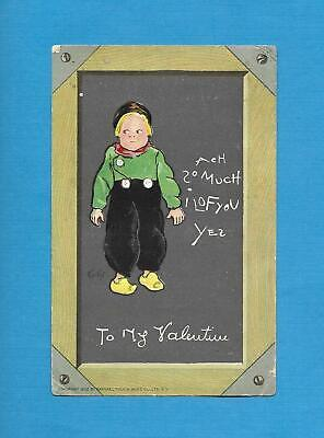 Cute DUTCH BOY, SLATE BOARD, A/S CURTIS Vintage 1902 TUCK VALENTINE Postcard