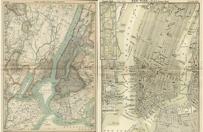 New York City & Vicinity PLUS Lower Manhattan Map: Authentic 1889 Fine Detais