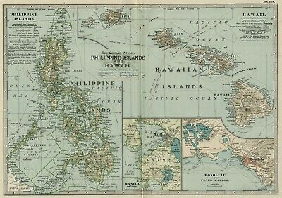 Hawaii & Philippines Map: Authentic 1897 (Dated) Cities, Ports, RRs, Sea Routes