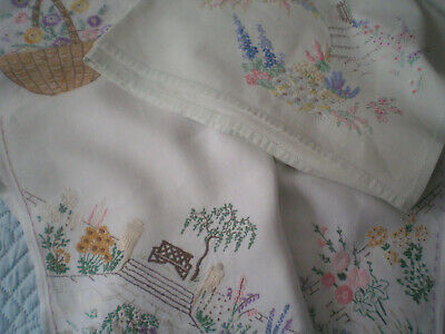 Three Vintage Hand Embroidered Tablecloths