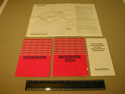 Vintage B&O Bang & Olufsen Model 2000 Instruction Manuals / Circuit Diagrams Etc