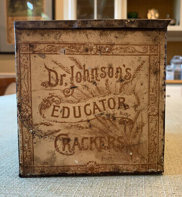 Vintage 1890's Dr. Johnson's Educator Crackers Tin Hinged Lid Boston Mercantile