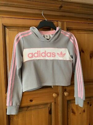 Attractive Girls Age 11-12 Years ADIDAS Cropped Hooded Top RRP£30 + FREE P&P