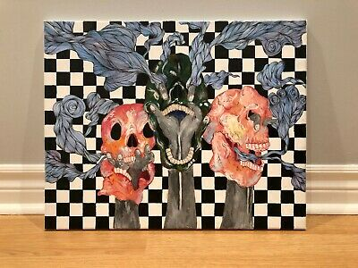"""Original Psychedelic Acrylic Skull Painting with Checkers Background 16""""× 20"""""""