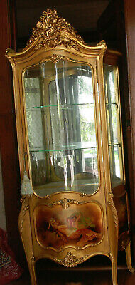 ANTIQUE FRENCH GOLD & PAINTED ART NOUVEAU Wood Serpentine Front DISPLAY Cabinet