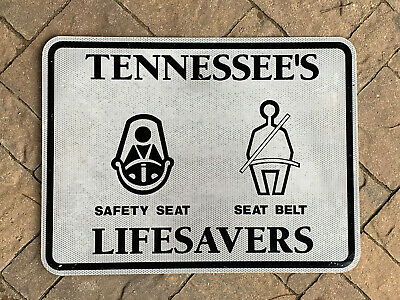 "Used ""Tennessee's Lifesavers"" Highway Sign! Metal * 24x18 * Seat Belt Interstate"
