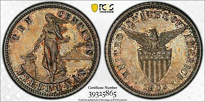 Us Philippines Ten Centavos 1903 Proof Pcgs Unc Details Cleaned, Nice Toning