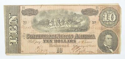 Genuine CIVIL WAR 1864 $10 C. S. A. Over 150 Years Old Horse Blanket Note *261