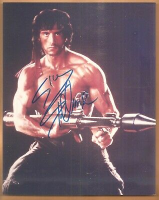 "Sylvester Stallone ""Rambo"" Autographed/Signed 8X10 Color Photo"