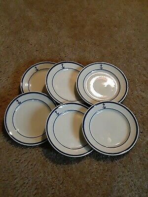 "LOT OF 6 UNITED STATES NAVY Shenango China Small Bread Dishes 6"" USN"