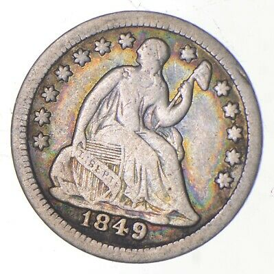 5c **1/2 Dime HALF** 1849 Seated Liberty Half Dime Early American Type Coin *215