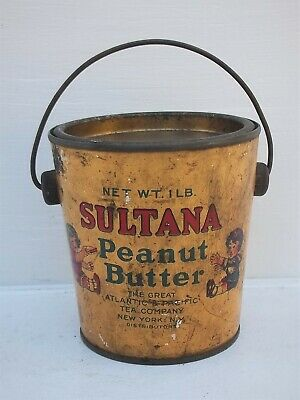 Vintage Sultana Peanut Butter Tin Can ~ The Great Atlantic & Pacific Tea Company