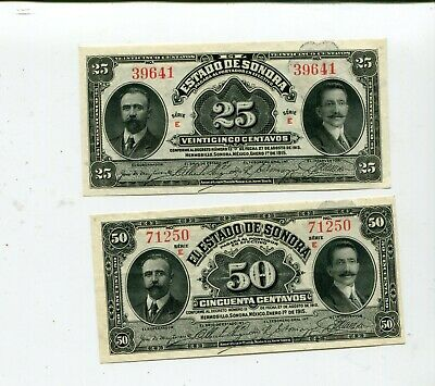 Mexico State Of Sonora 25 & 50 Cents 1915 Xf Set Nr 9.25