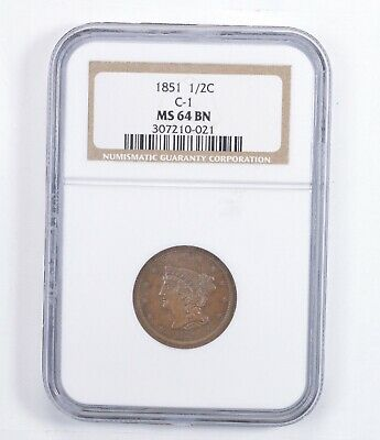 MS64 BN 1851 Braided Hair Half Cent - C-1 - Graded NGC *1385