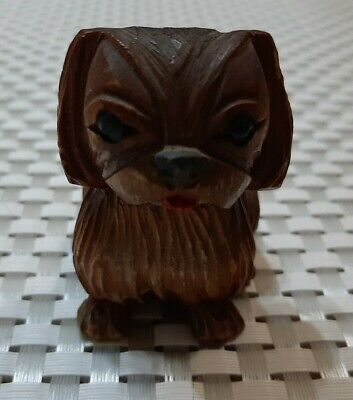 Vintage Hand Carved and painted Wooden PEKINGESE DOG figurine