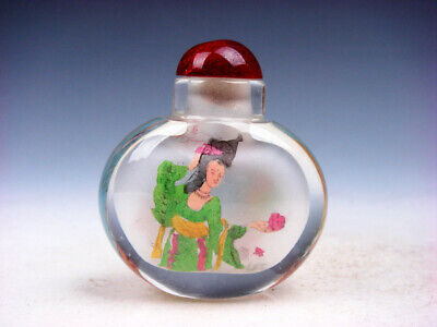 Peking Glass Inside *Palace Ladies* Reverse Hand Painted Snuff Bottle #01142012