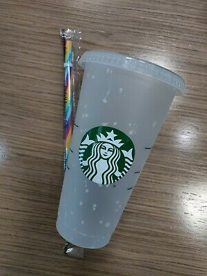 Starbucks Color Changing Confetti Cup w/Rainbow Straw  Summer 2020